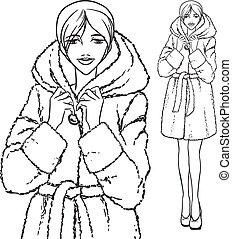 -, coat., frau, pelz, reihe