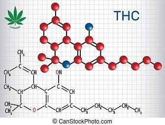 -, constituent, papier, model., formel, cannabis., blatt, strukturell, käfig, mandant, chemische , (thc), psychoactive, molekül, tetrahydrocannabinol