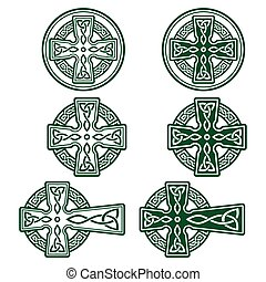 -, design, patrick's, retro, st, irland, grün, feier, keltisch, tag, irisch, vektor, satz, kreuz