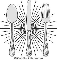 -, gabel, illustration/, löffel, messer, clipart