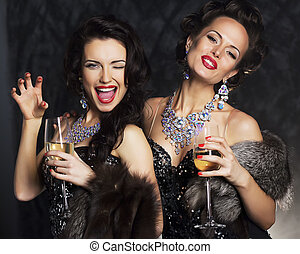 -, junger, elegant, schwarz, nachtleben, champagner, kleiden, frauen