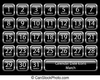 -, kalender, satz, märz, ikone