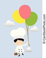 -, karikatur, fliegendes, reizend, küchenchef, luftballone