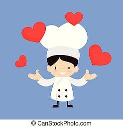-, karikatur, reizend, herzen, präsentieren, küchenchef