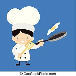-, karikatur, reizend, lebensmittel, küchenchef, vorbereiten