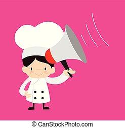 -, karikatur, reizend, stehende , loudhailer, küchenchef