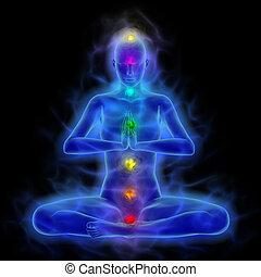-, koerper, meditation, energie, aura, heilung