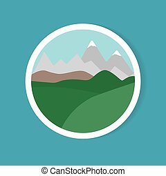 -, landschaftsbild, vektor, abbildung, aufkleber, berg