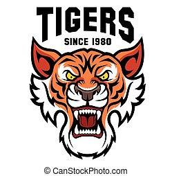 -, logo, mannschaft, template., tiger, sport, maskottchen