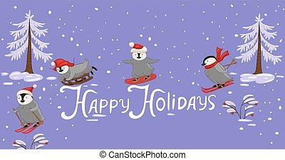 -, pinguine, sport., holidays., banner, winter, glücklich, inschrift