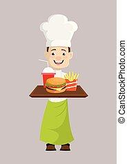-, schnelle speisen, präsentieren, küchenchef
