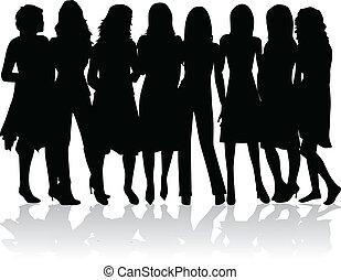 -, silhouetten, frauen, gruppe, schwarz