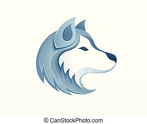 -, vektor, heiser, logo, draußen, rodeln, hund, winter, safari, abbildung, sibirisch, kopf