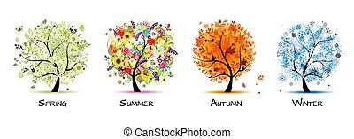 -, vier, kunst, herbst, schöne , baum, fruehjahr, design, winter., jahreszeiten, sommer, dein