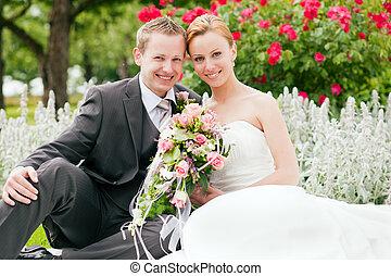 -, wedding, stallknecht, park, braut