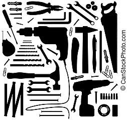 -, werkzeug, silhouette, abbildung, diiy