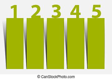 1, 2, 3, 4, 5 - Vektor Fortschritt Icons für fünf Schritte.
