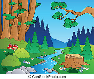 1, karikatur, landschaftsbild, wald