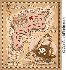 1, landkarte, thema, schatz, bild