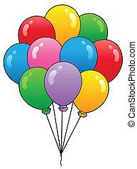 1, luftballone, gruppe, karikatur