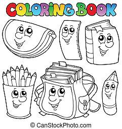1, schule, farbton- buch, karikaturen