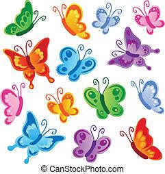 1, vlinders, verschieden, sammlung