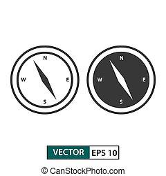 10, set., freigestellt, abbildung, eps, vektor, white., kompaß, ikone