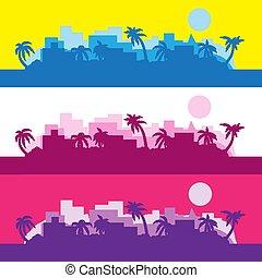 10, silhouette, gefärbt, abstrakt, eps, streifen, vektor, palma, hintergrund, sun., image.