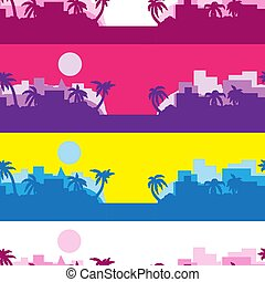 10, silhouette, gefärbt, abstrakt, seamless, streifen, vektor, palma, hintergrund, sun., eps, image.