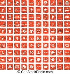 100 Athleten-Icons sind grunge orange.