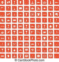 100 Auszeichnungen Symbole gesetzt grunge orange.