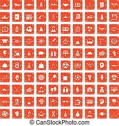 100 Erfolgssymbole setzen grunge orange.
