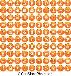 100 Erwachsene Spiele Icons gesetzt orange.