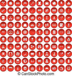 100 Erwachsene Spiele Icons gesetzt rot.