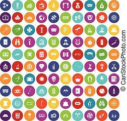 100 Erwachsene Spiele Icons setzen Farbe.