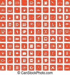 100 Schul-Ikonen haben Grunge-Orange.