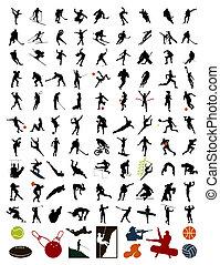 100 Silhouette von Sportlern und Sport. Eine Vektor-Illustration