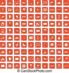 100 Spielplatz-Icons sind mit grunge orange.