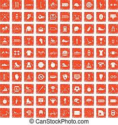 100 Sport-Team Icons setzen Grunge Orange.