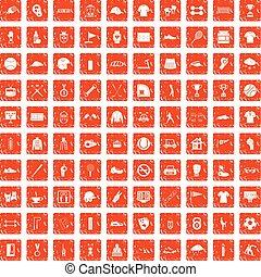 100 Sportclub-Icons setzen Grunge Orange.