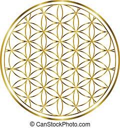 100032 spirituelle Blume des Lebens Gold Illustration 1.ep