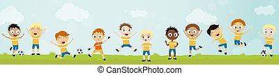 11, kugel, fußball, -, spieler, kinder, mannschaft, spielende , glücklich