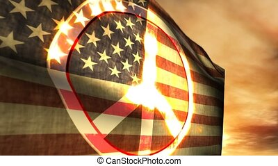 1179 Friedenszeichen USA American Flag