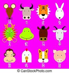 12 chinesische Zodiac Ikonenset