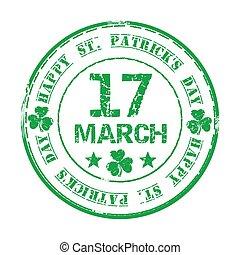 17. März Green grunge Gummi Stempel mit Klee und der Text Happy St. Patricks Day
