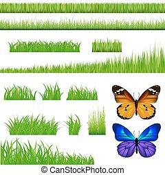 2 Schmetterlinge und grünes Gras