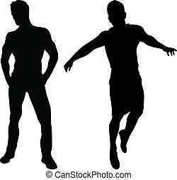 2 sexy Männer Silhouetten auf weißem Hintergrund