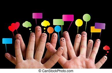 2, smileys, gruppe, finger, glücklich
