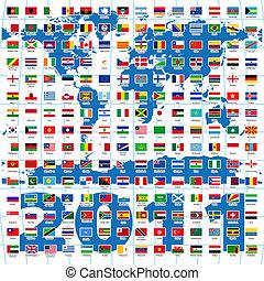 2011-Jahr. Komplette Flaggen der Welt