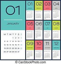 2015, kalender, vektor, desing, schablone